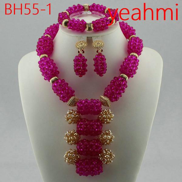 2018 Nuovo incredibile giallo africano perline di corallo gioielli set nigeriano perline di nozze collana set di gioielli da sposa spedizione gratuita BH55-2