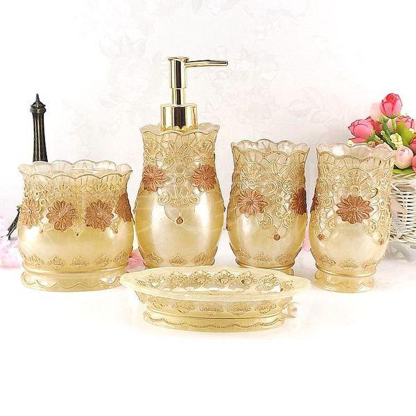 Moda baño suministros de baño de resina conjunto de cinco piezas conjunto de baño conjunto de baño tinas de baño plato de jabón titular de cepillo de dientes