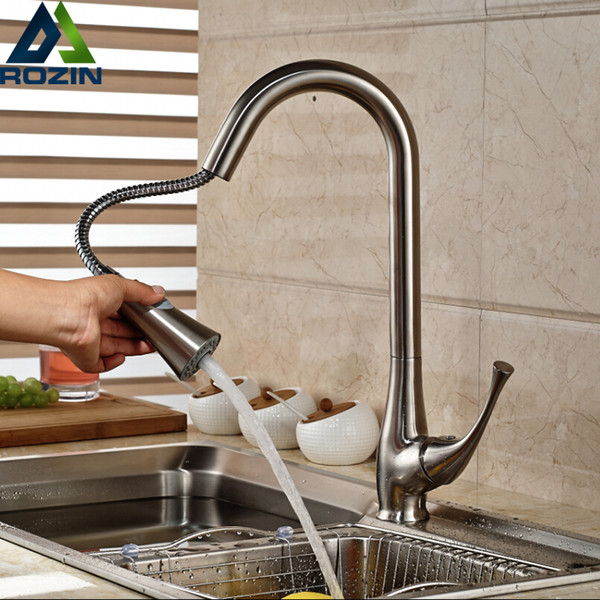 2019 Brushed Nickel Kitchen Sink Mixer Taps Single Lever Pull Out Kitchen Faucet Dual Sprayer Functions Shower Head From Youergarden 17 16