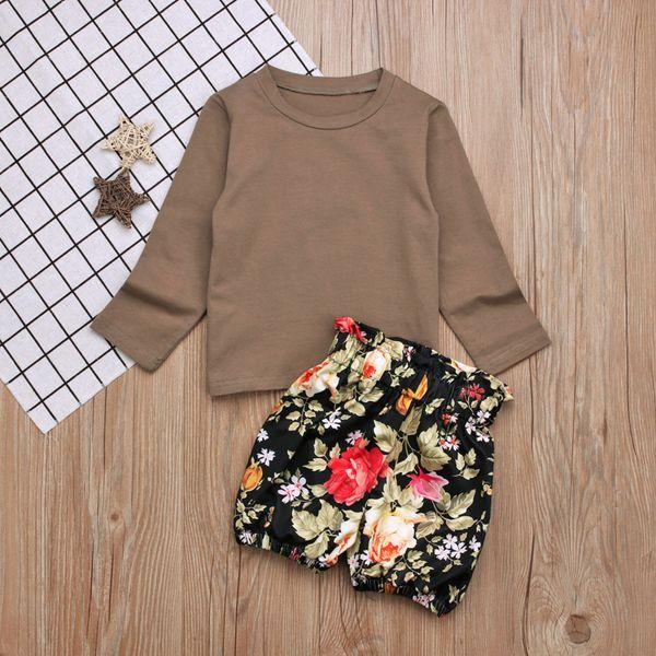 1-5T Baby Mädchen Langarm T-Shirt Outfits 2pc Sets braun T-Shirt + schwarz floral Bloomer Spitze Taille Shorts Sets für Kleinkinder