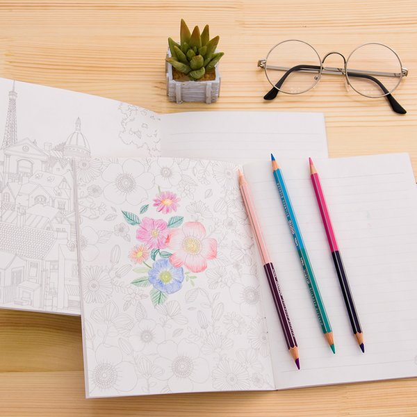 12 pcs/Lot Coloring notebook Sweet cake Garden flower painting drawing sketch book Line diary Stationery School supplies F140