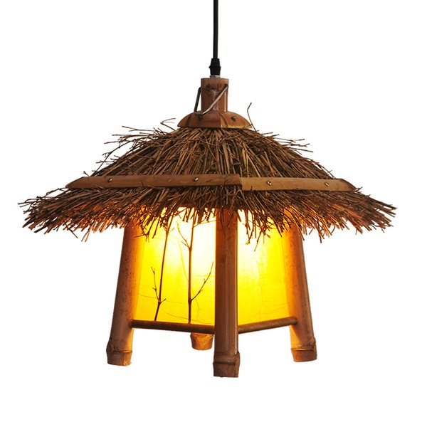 New Wood Pendant Light Retro Bamboo Pendanr Lamps Balcony Corridor Cafe Clothing Store Lamps Decor Home Lighting