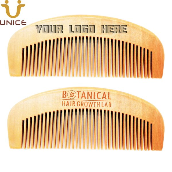 100pcs/lot Hot Sale Imprint Your LOGO Customized Laser Carved Wood Combs Private Label Brand Hair Comb Anti Static Beard Comb 12.8*5*1cm