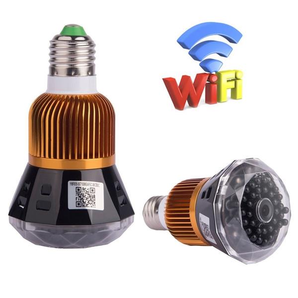 HD 1080P Wifi Cámara de red E27 LED Bombilla de seguridad Videocámara Detector de movimiento Cámara de visión nocturna P2P Videp Recorder Niñera Cam