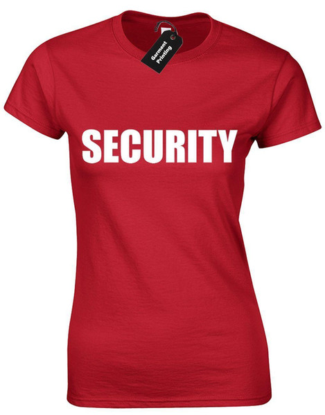 SECURITY LADIES T SHIRT NOVITÀ PARTY PUB ARMY SWAT DOORMAN BODYGUARD CLUB REGALO