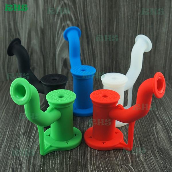 Os mais recentes Bong água portátil de silicone com tubos de água cúpula prego titânio silicone bong dupla plataforma de óleo de silicone de filtro para fumar