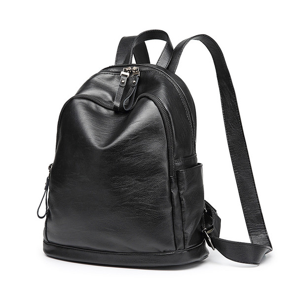 Backpack Female Genuine Leather Women Backpacks School Bag black Stripe Multifunctional Leather Back pack on Shoulder new C707