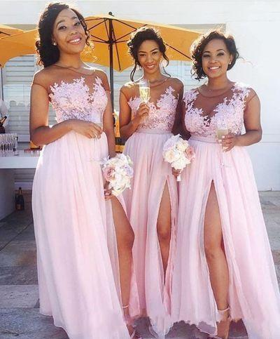 2018 Elegant Chiffon Shee Neck Lace Applique Long Bridemaid Dresses Floor Length Side Split Formal Party Gown Plus Size Custom Made