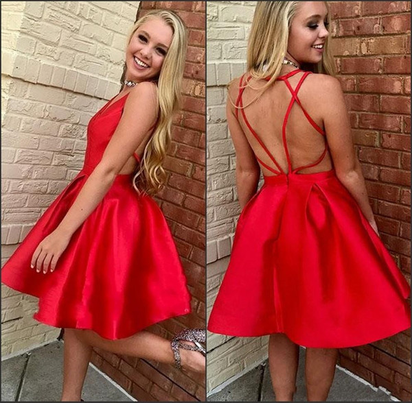 Red Short A Line Homecoming Dresses V Neck Sleeveless Criss Cross Open Back Plus Size Knee Length Cocktail For Juniors Prom Party Gowns
