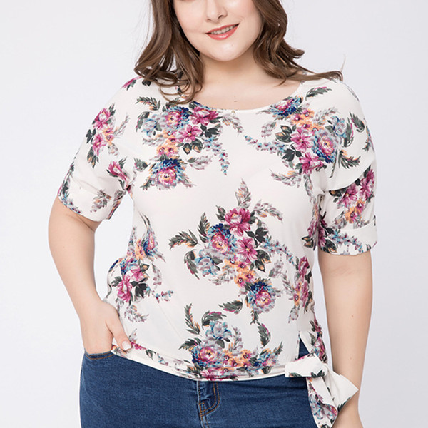 7c3bf4723 Plus Size Office Ladies Shirts Women Big Size Floral Printed Tops Elegant  Blusas with Ties At