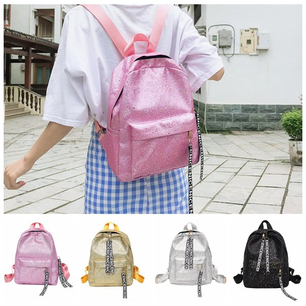 4styles glitter Street Fashion PU Women Backpack letter Girl School Bags Shoulder Bag outdoor tavel simple backpack FFA628