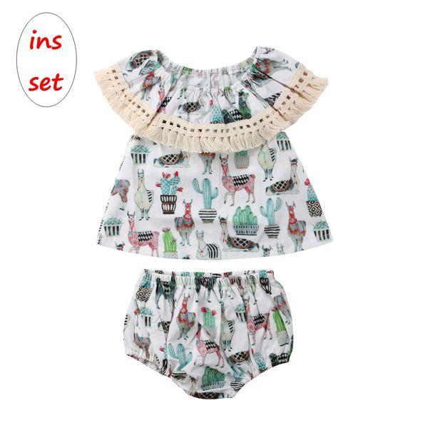 Ragazza INS Outfit Baby senza maniche cime di cactus animali + pantaloncini 2 pezzi Set Set di vestiti per bambini per 0-2T