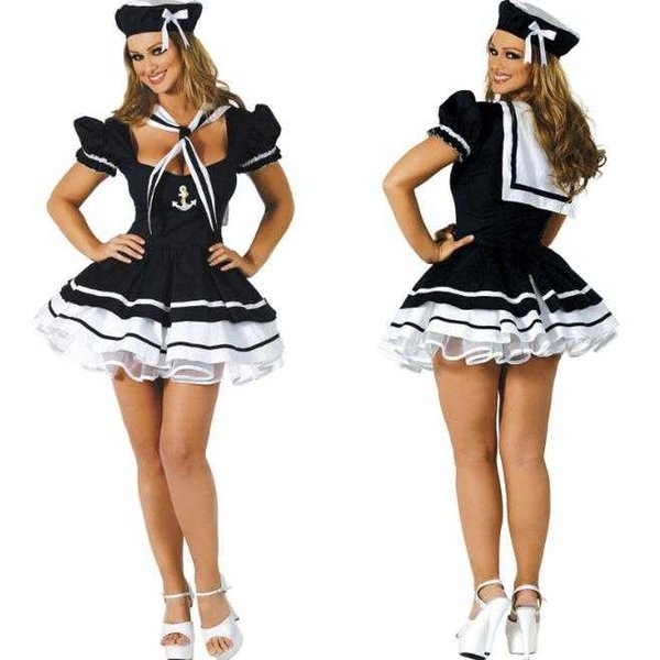 best selling Free Shipping New sexy lingerie cosplay Halloween Naval Suit Sailor Suit Game Uniform Temptation Halloween COS Show Costume Uniform Set