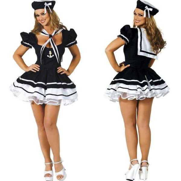 top popular Free Shipping New sexy lingerie cosplay Halloween Naval Suit Sailor Suit Game Uniform Temptation Halloween COS Show Costume Uniform Set 2021