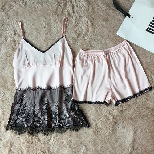 Новый дизайн женских кружевных пижамных комплектов сатинового шелка ночного белья для женщин и девушек нижнее белье комплект из двух частей пижамы комплект домашней одежды