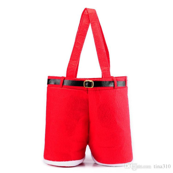 Merry Christmas Gift Treat Candy Bottle Bag Pantalones de tirantes de Santa Claus Pantalones Decor Bolsas de regalo de Navidad IA876