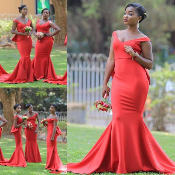 Africano V Pescoço Longo Dama de Honra Vestidos Para O Casamento Plus Size Sereia Maid Of Honor Vestidos de Cetim Varredura Trem Mulheres Formal Desgaste Barato