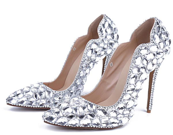 2018 glitter women point toe pumps diamond High Heels party shoes crystal pumps thin heel sexy rhinestone bridal shoes celebrity
