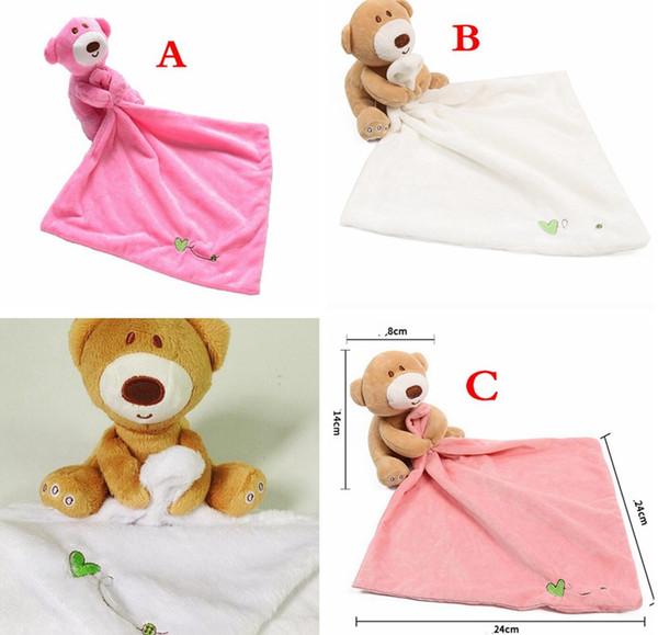 INS cute top quality Bear Baby Appease Asciugamano Trapunta BIBS INFANT Felpa ripiene lavabile Coperta Bavaglini morbidi Asciugamano ToyS 24 * 24 CM 3 COLORI