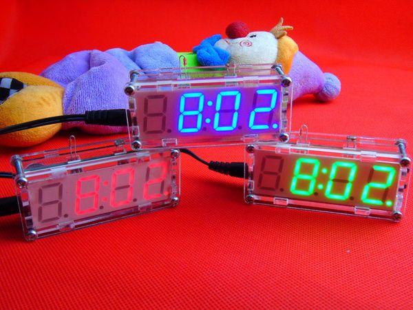 DEL verte électronique horloge Microcontrôleur temps d/'horloge thermomètre À faire soi-même Kit