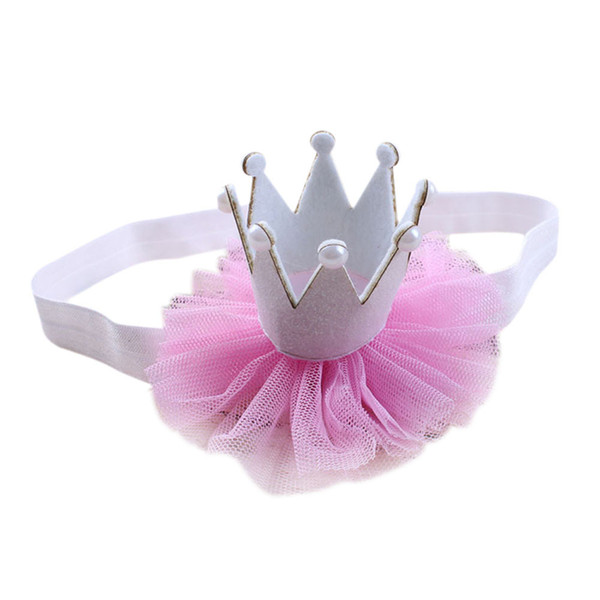 Niña Bebé Flor elástica Corona Niñas Hairbands Accesorios para la cabeza Bebé Princesa Reina Rhinestone Tiara Diademas Banda para el pelo *