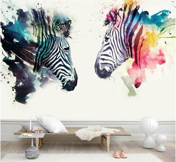 Modern Abstract Art Mural Wallpaper 3D Watercolor Zebra Wall Painting Kid\'S  Bedroom Cafe Restaurant Background Wall Papers Decor Cartoon Wallpaper ...