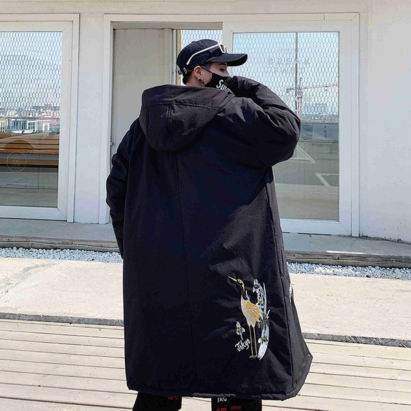 Fashion Winter Thick Jacket Embroidery Cranes Men Warm Coat Men Coats Male Thicken Jackets US Size S-XXL