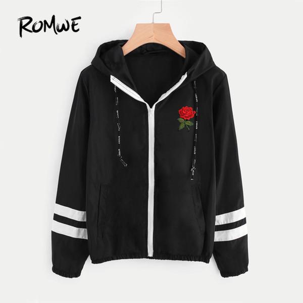 ROMWE Varsity-Striped Zip Up Hooded Women Jacket And Coat 2017 Women Clothes Zipper Jacket Black Embroidery Short