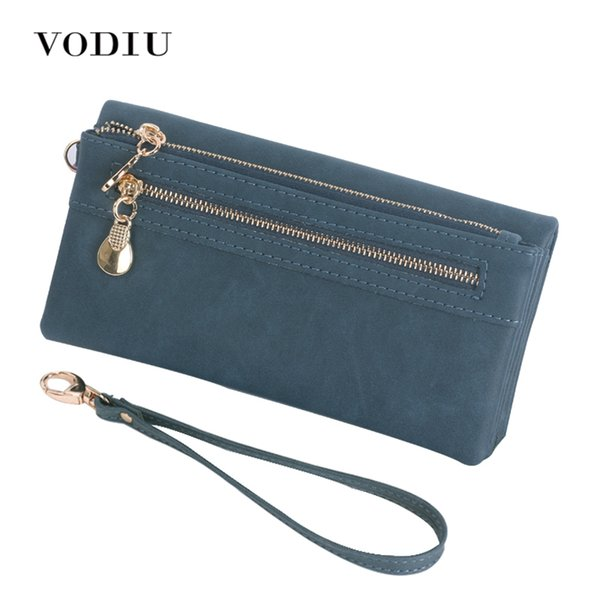 Women Wallets Leather Scrub Long Wristlet Phone Card Holder Coin Dollar Price Female 2017 High Quality Clutch Double Zip Pocket