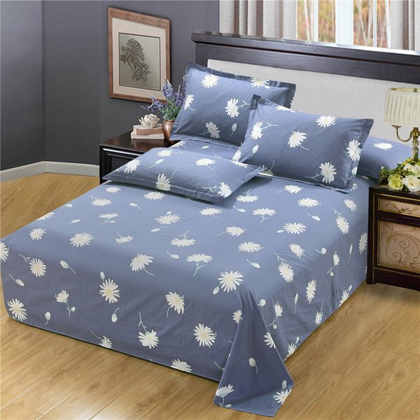 Hot sell Modern simple fashion gray Bedding white Small Chrysanthemum flat sheet pillow case full Size kid/adult home ornament