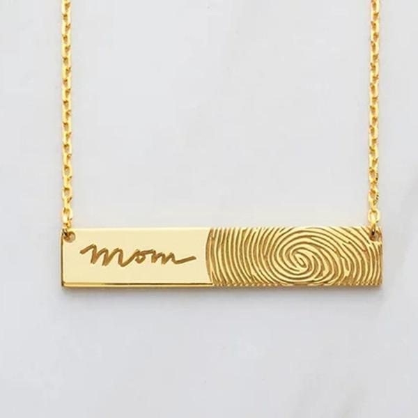 Ufine Personalized words fingerprint fashion Strip pendant Necklace cooper high quality pendant necklace N2075