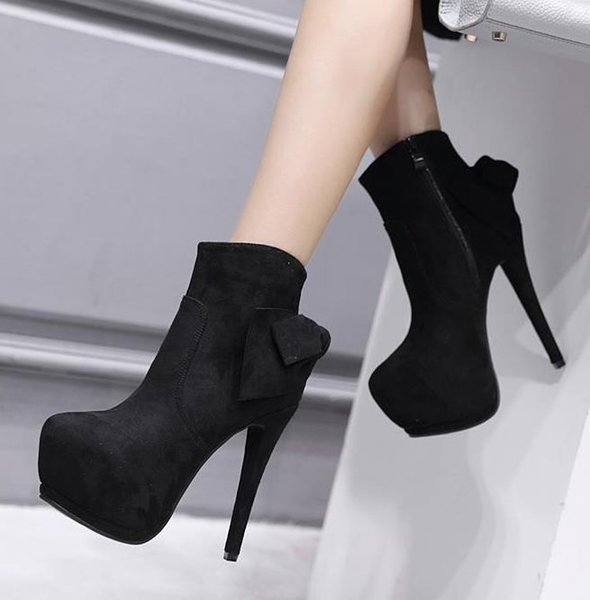 fashion luxury designer women boots bowtie synthetic suede high heels platform ankle Bottes femmes size 34 to 39