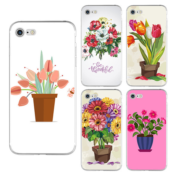 Soft TPU Beautiful Flowers Painted Phone Case For iPhone X 8 7 6 6s plus 5 5S Samsung Galaxy S7 Edge S8 S9 Plus Note 8 Silicone Back Cover