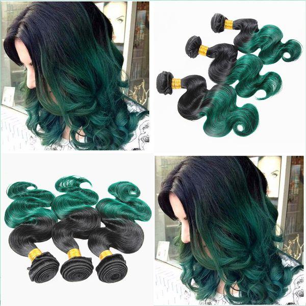 Populäres Produkt Ombre färbte menschliches Haar-Brasilianer 1B grünes Jungfrau-Haar bündelt 3Pcs Los malaysische Körperwelle zwei Tonhaar-Verlängerung 300g