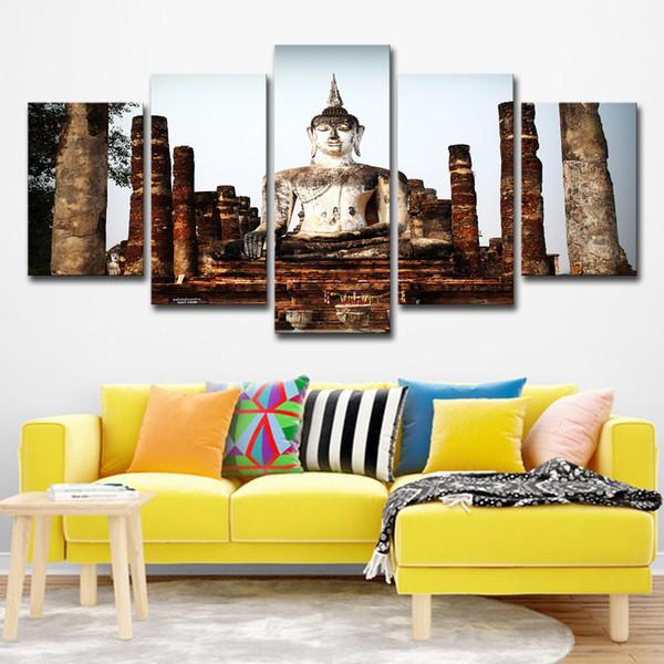 Acheter Toile Hd Affiche Imprimé Moderne Mur Art Modulaire 5 Panneau Bouddha Photos Home Decor Salon Chambre Portrait Pierre Peinture De 16 41 Du