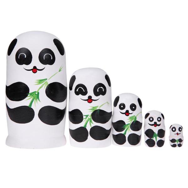 5pcs/Set Wooden Matryoshka Dolls Cute Panda Paint Russian Nesting Doll Handmade Wooden Toy Gift for Children Kids