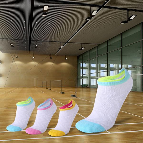 Женщины спортивные носки хлопок противоскользящие дышащий спортивные носки высокого качества фитнес работает хлопок высокой эластичной женщины