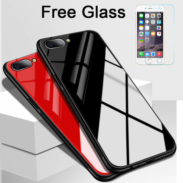 wholesale Tempered Glass Case For iPhone 8 Luxury Hard Back Cover Red Phone Cases For iPhone 7 8 Plus Silicon Bumper Capa Coque