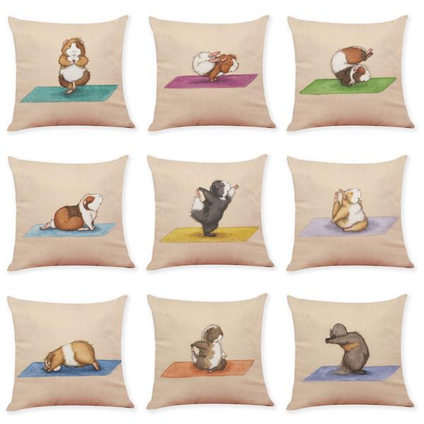 Couvre-coussins en lin Hamster mignon Home Office canapé taie d'oreiller carrée décorative taie d'oreiller sans insert (18 * 18 pouces)