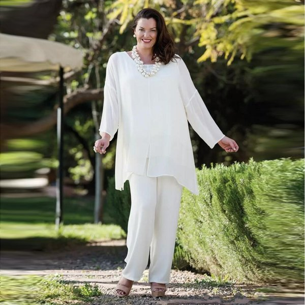 2018 White Chiffon Mother Of The Bride Pant Suits With Long Sleeves Wedding Guest Dress Plus Size Cheap Mothers Of The Groom Dresses