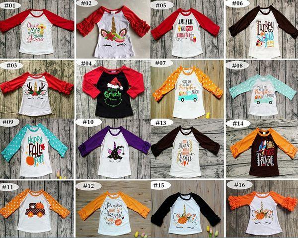 Noël noël Thanksgiving Bébés filles garçon Fleurs imprimées Licorne T-shirts printemps automne Ruffle Chemise