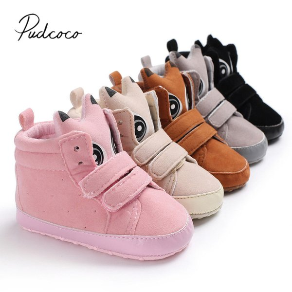 Kids Brand Baby Booties Toddler Girls Soft Cute Boots Eyes Soled Cotton 2018 Walkers Infant First Cartoon Baby New Shoes Boys