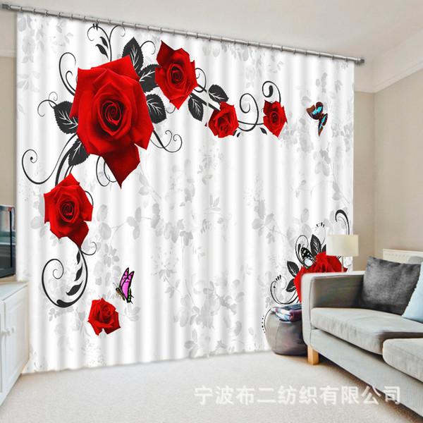 Güzel çiçekler 3D Gül Karartma Perdeleri Oturma odası Yatak odası Dekor Goblen Duvar Halı Perdeler Cotinas Için