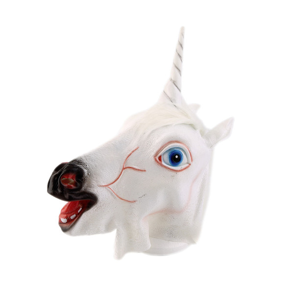 2018 New Arrival Funny Halloween White Unicorn Horse Head Mask Latex for a Crazy Cosplay Party Costume Dress Mask Supplies
