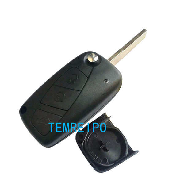 3 Buttons Flip Remote Key Case Shell fit for FIAT Punto Ducato Stilo Panda Case Fob Black with battery holder on back cover