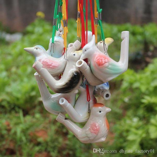 Sifflet d'oiseau d'eau avec corde Artisanat d'oiseau d'argile Oiseau en céramique glacé Sifflet-Paon Oiseaux Décoration Bureau Ornements