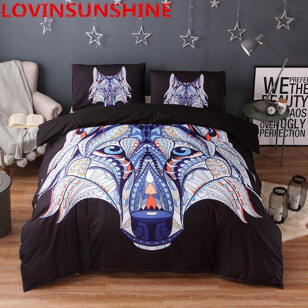 LOVINSUNSHINE lobo impressão Conjunto de Cama e Roupa de Cama Queen King Size Conjuntos de Cama de Lobo e 3 pcs Símbolo Indiano Conjuntos de Capa de Edredão
