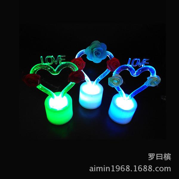 الورود الرومانسية عيد الميلاد يوم عيد الحب يعرض أضواء الليل مصنع LED الملونة