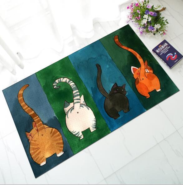 Alfombrillas de baño Cat Pattern Antideslizante Franela Alfombrilla de baño Alfombrilla de baño Absorción de polvo de agua Alfombra de baño Alfombra Felpudo Cocina transpirable