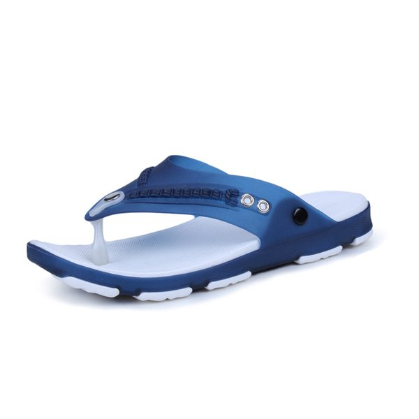 Thick Soled Beach Fashion Outside Men's Slippers Leisure Concise PVC Summer Flip Flops Metal Decoration Mixed Colors Men Shoes